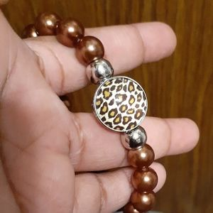 Jewelry - 🐆Leopard Print Snap Button Beaded Bracelet🐆